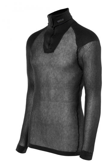 Polo con zip e rinforzi sulle spalle Wool Thermo